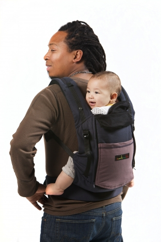 Je Porte Mon Bebe Physio Carrier Blue Pocket Glazed Brown - Porte bebe physiocarrier